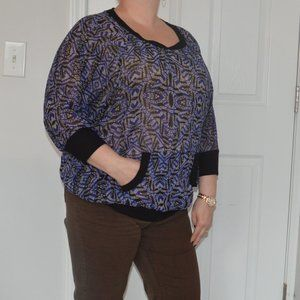 Bobeau Sheer Blue Patterned Blouse with Pockets